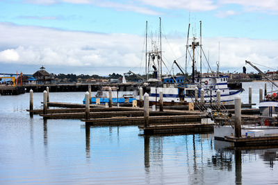 Seaport and moored boats in San Diego Stock Photo
