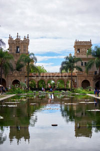 SAN DIEGO, USA - SEPTEMBER 28, 2019: Lily Pond in Balboa Park with lots of tourists Stock Photo