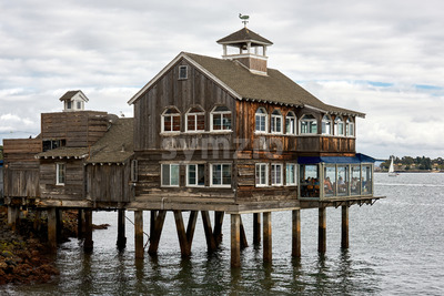 SAN DIEGO, USA - SEPTEMBER 28, 2019: Pier Cafe full of people located in Seaport Village Stock Photo