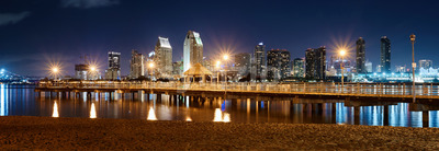 Night downtown cityscape with pier on foreground. Colorful lights. Panorama. San Diego, California Stock Photo