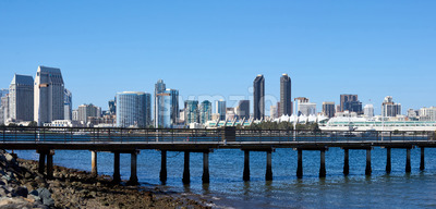 Panorama of a pier in San Diego with cityscape on background. California Stock Photo