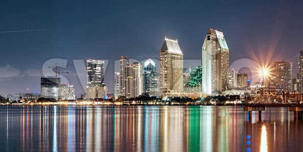 Night downtown cityscape with pier on foreground. Colorful lights. San Diego, California Stock Photo