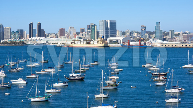 Sailing boats in waterfront area. Cityscape on background. San Diego, California Stock Photo