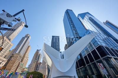 NEW YORK, USA, SEPTEMBER 19: Wide shot of the World Trade Center Station with lots of high modern buildings in the background Stock Photo