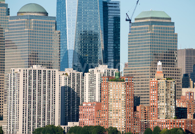 beautiful panorama of New York City during the day, from the Hudson River, USA Stock Photo