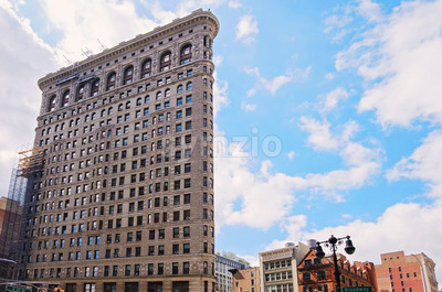 a horizontal shot of the The Flatiron Building in New York City, USA Stock Photo