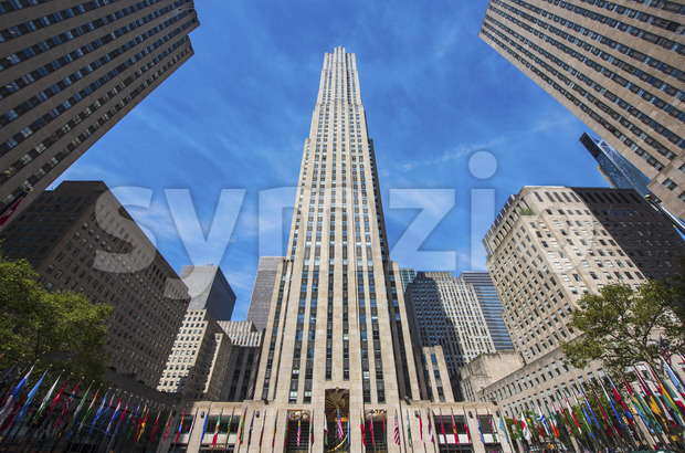 NEW YORK, USA- 20 SEPTEMBER, 2019: facade of the General Electric Building, 30 Rockefeller Plaza Stock Photo