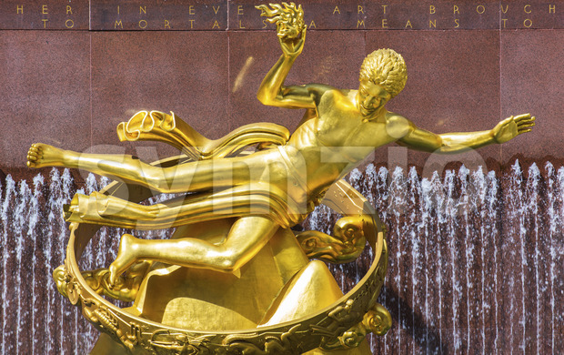 NEW YORK, USA- 20 SEPTEMBER, 2019:Prometheus Statue at 30 Rockefeller Plaza Stock Photo