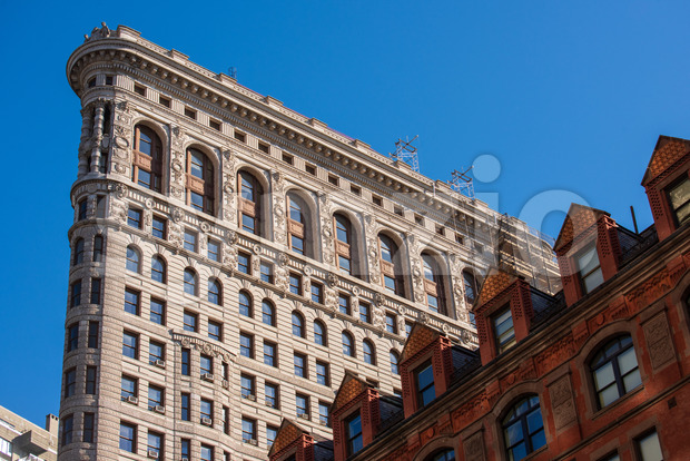 view at Flatiron Building on fifth avenue in the New York city, USA Stock Photo
