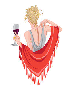 Elegant woman with glass of wine in hands waving with red scarf. View from behind. Curly blonde hair. Vector Stock Vector
