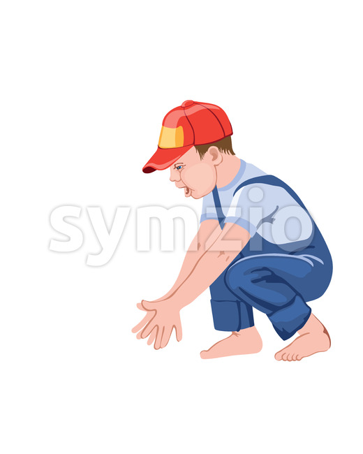 Happy little boy child clapping hands while squatting. Playing with something. Red cap and blue overall. Vector Stock Vector