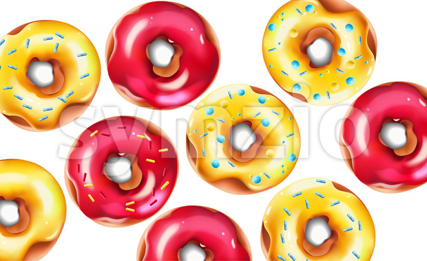 Colorful composition with glazed pink and yellow sprinkled donuts. Vector Stock Vector