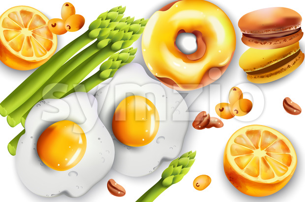 Food Composition with fried eggs, asparagus, donut, macarons, lemons, coffee beans and pyracantha berries. Vector