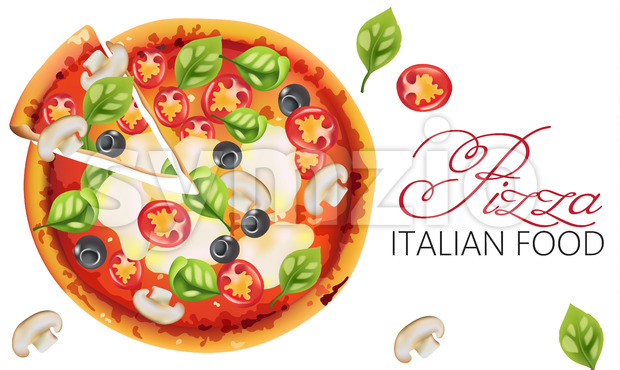 Pizza with basil leaves, tomatoes, sauce, mozzarella cheese, mushrooms and black olives. Italian food Vector