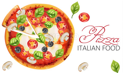 Pizza with basil leaves, tomatoes, sauce, mozzarella cheese, mushrooms and black olives. Italian food Vector Stock Vector