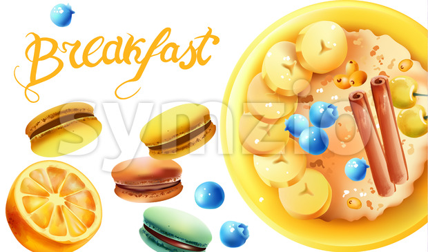 Healthy breakfast composition with a bowl of oatmeal, white cherries, blueberries, banana slices, cinnamon sticks, macarons and lemon. Vector Stock Vector