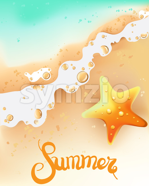 Summer composition with seashore and sea star. Waves coming. Vector