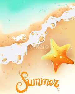 Summer composition with seashore and sea star. Waves coming. Vector Stock Vector