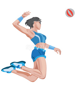 Young and fit girl playing volleyball in blue sport outfit. Jumping and serving the ball. Vector Stock Vector