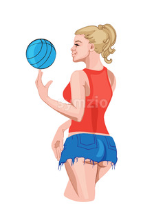 Happy young girl in jean shorts spinning a basketball on her finger. Vector Stock Vector