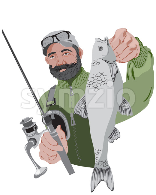 Happy bearded fisherman holding his fishing rod and a fish. Wearing green sweater. Vector