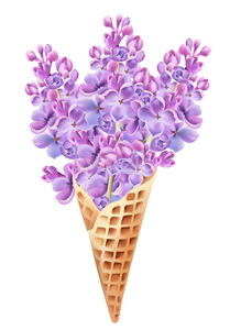 Waffle cone filled with lilac flowers. Beginning of summer idea. Vector Stock Vector
