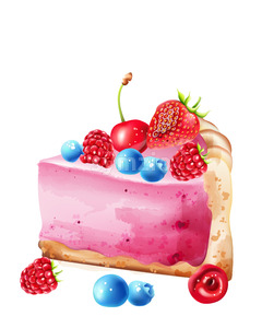 Piece of berry cheesecake with blueberry, strawberry, raspberry and cherries topping. Watercolor Vector Stock Vector