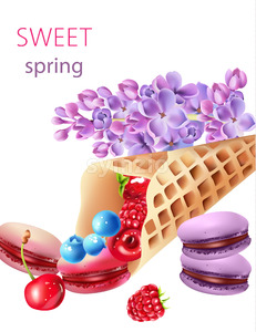 Waffle cone filled with blueberry, cherries, raspberries, strawberries and macarons, with some lilac flowers. Watercolor Vector Stock Vector