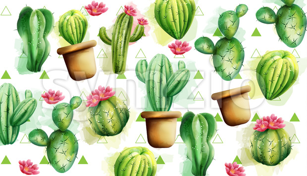 Cactus pattern with green triangles in background. Cactus with flowers. Vector