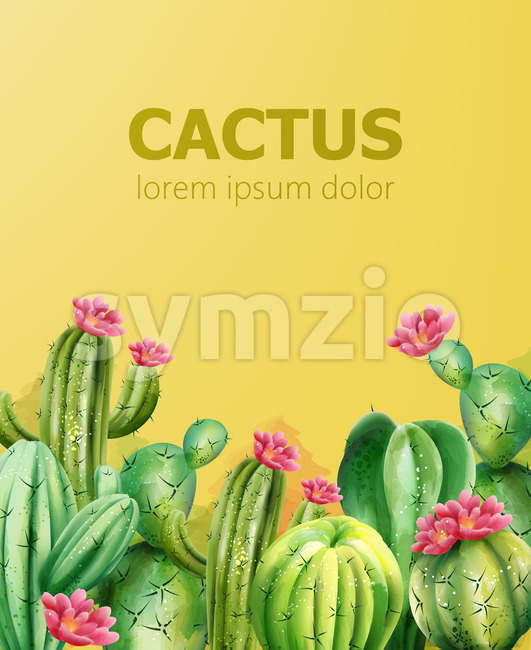 Cactus pattern on yellow background with place for text. Cactus with flower. Vector