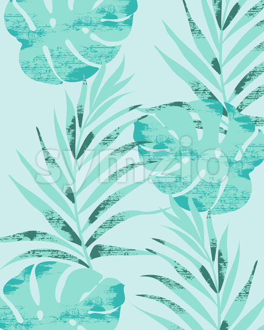 Palm leaves pattern on light blue background. Grunge design. Vector Stock Vector