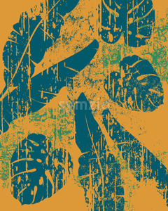 Palm leaves pattern on yellow background. Grunge design. Vector Stock Vector