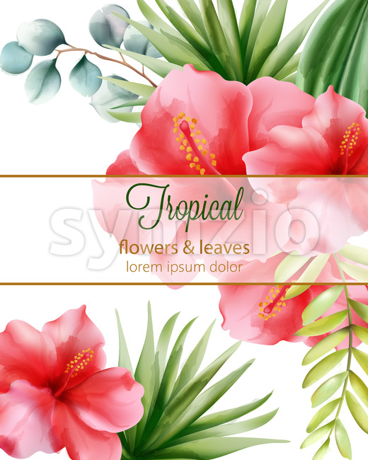 Red hibiscus. Palm leaves. Tropical flowers and leaves with place for text. Vector
