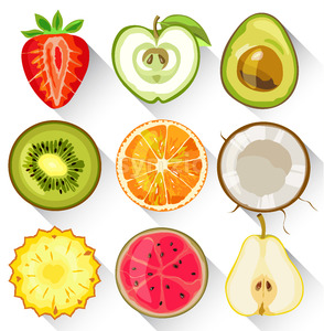 Set of fruits and vegetables. Apple, kiwi, orange, strawberry, avocado, pear pineapple and guava Vector Stock Vector