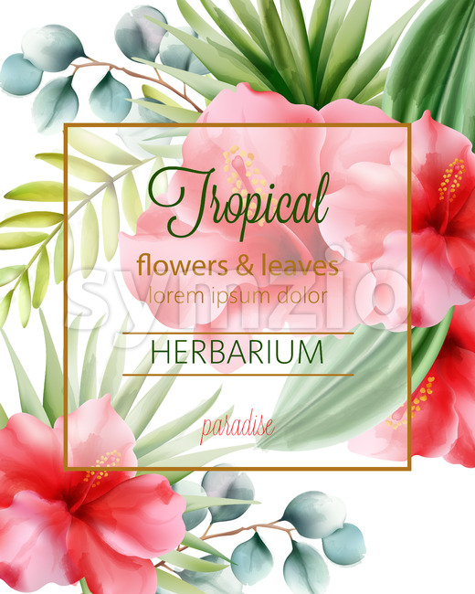 Tropical flowers and leaves herbarium with place for text. Vector Stock Vector