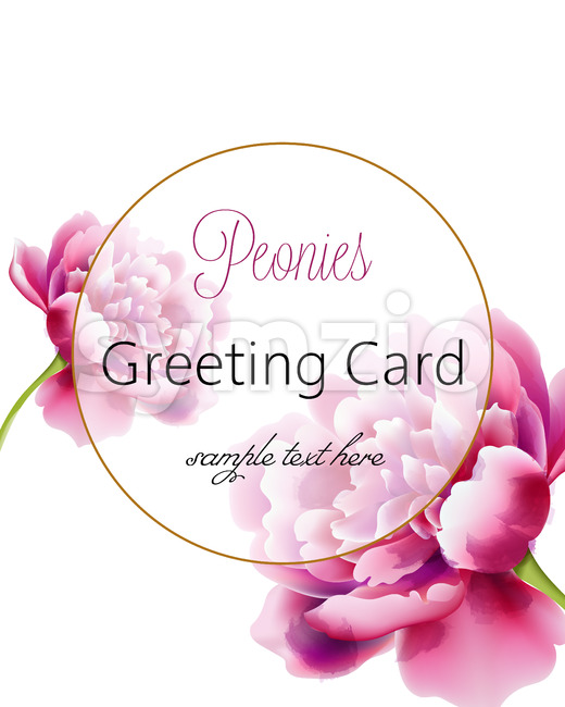 Greeting card with pink peonies flowers and place for text. Watercolor. Vector Stock Vector
