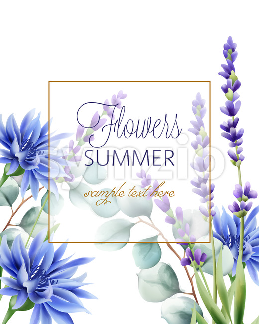 Greeting card with place for text. Blue cornflower, twig and lavender. Vector