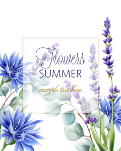 Greeting card with place for text. Blue cornflower, twig and lavender. Vector Stock Vector