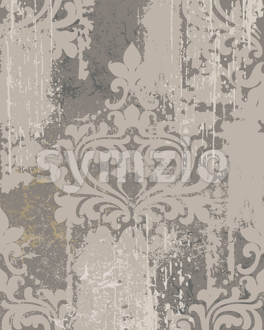 Luxury ornament on grunge background. Vintage Victorian texture. Gray color. Vector Stock Vector