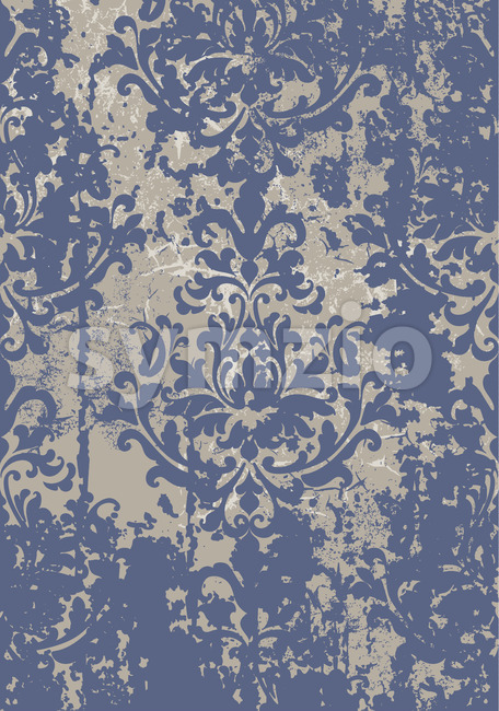 Vintage damask grunge ornament. Floral decoration. Baroque design. Blue and gray color. Vector Stock Vector