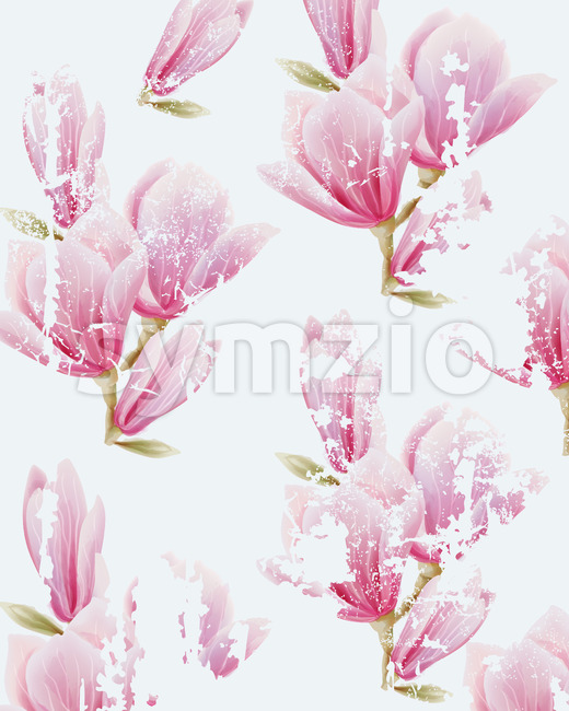 Pink fairy lily flower pattern. Grunge design. Watercolor. Vector Stock Vector