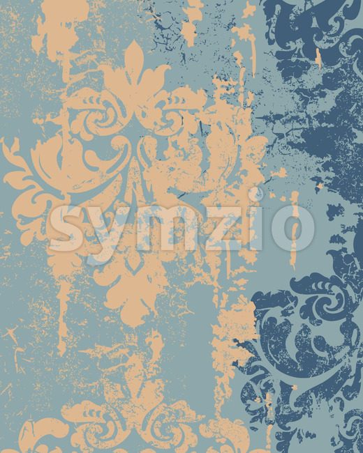 Royal decor in grunge design. Luxury baroque texture. Yellow and blue color. Vector