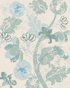 Vintage floral background with grunge style. Pale green and beige color. Vector Stock Vector