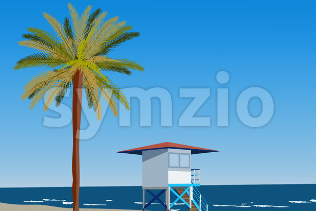 Peisage of seashore with palms and lifeguard hut. Blue clear sky. Vector Stock Vector