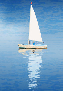 Lonely sailor in his boat in the blue sea with reflection on water. Vector Stock Vector