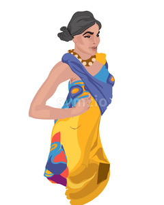 Indian woman with serious facial expression in national hindi clothes. Vector Stock Vector
