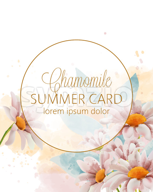 Chamomile flowers summer card with place for text in golden circle. Watercolor. Vector Stock Vector
