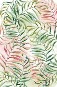 Tropical leaves pattern. Red and green color. Watercolor. Vector Stock Vector