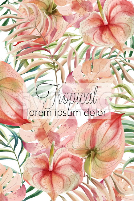 Tropical leaves card with place for text. Watercolor. Vector