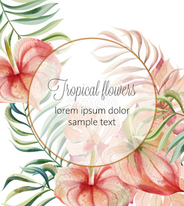 Tropical flowers and leaves card with place for text. Watercolor. Vector Stock Vector